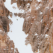 Forrest Jillson skiing the Horseshoe Couloir in the JHMR sidecountry.