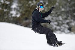 PICK Owen, banked slalom training, 2015 IPC Snowboarding World Championships, La Molina, Spain