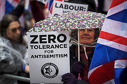 © Licensed to London News Pictures. 08/04/2018. London, UK. Campaigners against anti-semitism demonstrate outside the headquarters of the Labour Party, in London over the handling of recent claims of anti-semitism by the party and it's leader Jeremy Corbyn. Labour party leader Jeremy Corbyn recently apologised for what he described as 'pockets' of anti-Semitism within Labour Party. Photo credit: Ben Cawthra/LNP