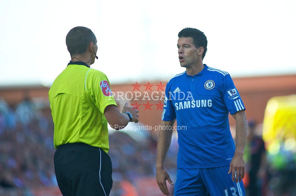 STOKE, ENGLAND - Saturday, September 12, 2009: Chelsea's Michael Ballack questions the linesman after throwing a foul throw against Stoke City during the Premiership match at the Britannia Stadium. (Pic by Gareth Davies/Propaganda)