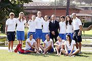 Roma, 02/09/2009<br /> Centro Sportivo Coni Giulio Onesti<br /> Nella foto: Giovanni Petrucci, le ragazze di college italia<br /> Foto Ciamillo