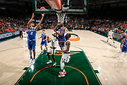 January 15, 2018: Gary Trent, Jr. #2 of Duke shoots over Anthony Lawrence, Jr. #3 of Miami during the NCAA basketball game between the Miami Hurricanes and the Duke Blue Devils in Coral Gables, Florida. The Blue Devils defeated the 'Canes 83-75.