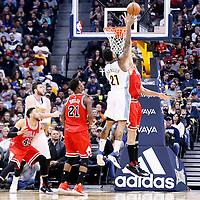22 November 2016: Denver Nuggets forward Wilson Chandler (21) goes for the baby hook over Chicago Bulls center Robin Lopez (8) during the Denver Nuggets 110-107 victory over the Chicago Bulls, at the Pepsi Center, Denver, Colorado, USA.
