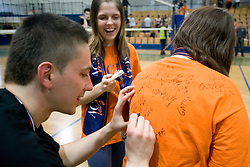Dejan Vincic of ACH with fans at final match of Slovenian National Volleyball Championships between ACH Volley Bled and Salonit Anhovo, on April 24, 2010, in Radovljica, Slovenia. ACH Volley defeated Salonit 3rd time in 3 Rounds and became Slovenian National Champion.  (Photo by Vid Ponikvar / Sportida)
