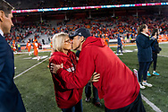 Mike Riley kisses his wife Dee Riley following Nebraska's game vs. Illinois at Memorial Stadium in Champaign, Illinois on Sept. 29, 2017. Photo by Aaron Babcock, Hail Varsity