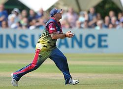 Jack Taylor of Gloucestershire is caught by Darren Stevens of Kent bowled by Matt Coles of Kent - Photo mandatory by-line: Dougie Allward/JMP - Mobile: 07966 386802 - 12/07/2015 - SPORT - Cricket - Cheltenham - Cheltenham College - Natwest Blast T20