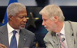 BRUSSELS, BELGIUM - AUGUST-25-2006 - Kofi Annan U.N. Secretary General, speaks with Erkki Tuomioja Foreign Affairs Minister of Finland and current President of the European Council of Foreign Ministers, during the press conference that followed an extraordinary meeting of European foreign ministers and the United Nations to discuss European military deployment to Lebanon as part of the cease-fire agreement between Israel and Hezbollah, at the European Council headquarters in Brussels. (PHOTO © JOCK FISTICK)