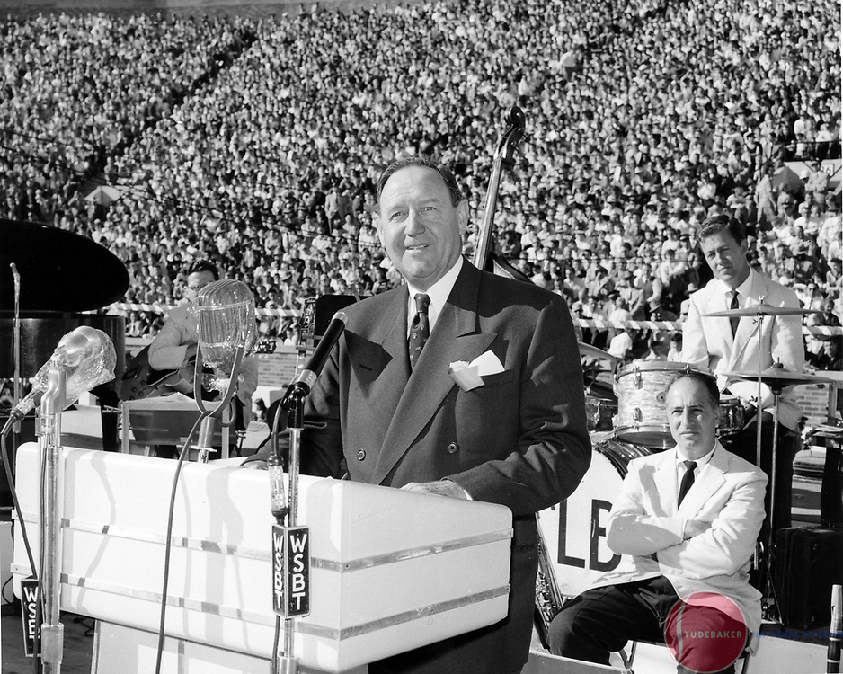 Studebaker-Packard President James Nance addresses the crowd at Notre Dame Stadium in the fall of 1954.