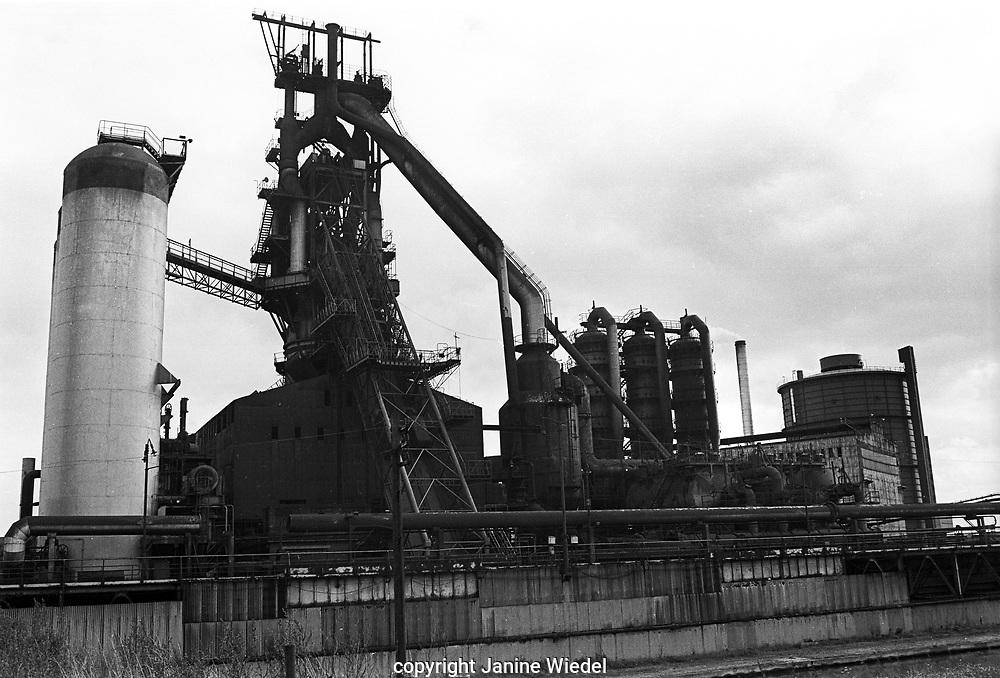General view of Bilston Blast Furnace. Part of the Melting Shop and Gas Holder can be seen on the extreme right.Bilston Iron and Steel works, Wolverhampton, West Midlands 1978