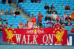 CHARLOTTE, USA - Friday, August 1, 2014: Liverpool supporters with a 'Walk On' banner during a training session at the Bank of America Stadium on day twelve of the club's USA Tour. (Pic by David Rawcliffe/Propaganda)