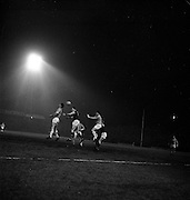 15/02/1963<br /> 02/15/1963<br /> 15 February 1963<br /> Soccer: Burnley v Manchester City at Dalymount Park, Dublin. Lockhead, (centre), Burnley wins this heading duel from Leivers (left) and Benson, Manchester City. Also in the image are Pointer (Burnley) and Sear, Manchester City.