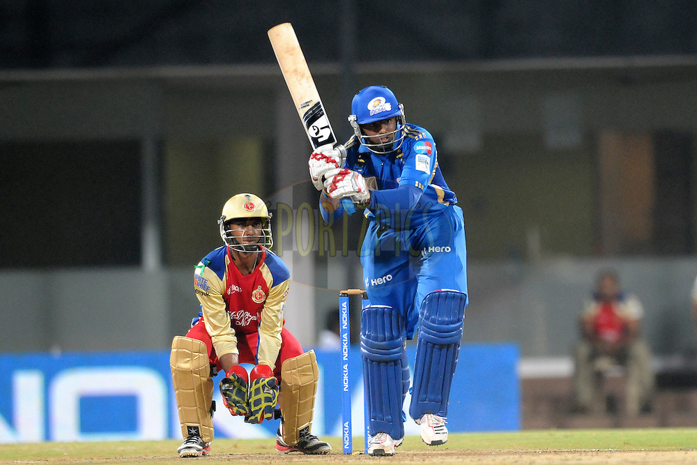 Suryakumar Yadav of Mumbai Indian bats during the Final of the NOKIA Champions League T20 ( CLT20 ) between The Royal Challengers Bangalore and The Mumbai Indians held at the M. A. Chidambaram Stadium in Chennai , Tamil Nadu, India on the 9th October 2011..Photo by Pal Pillai/BCCI/SPORTZPICS.