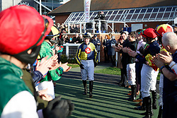 Noel Fehily heads out to ride Get In The Queue, his last ride before retiring, in The Goffs UK Spring Sale Bumper Race run during Be Wiser Jumps Season Finale Saturday at Newbury Racecourse, Newbury.