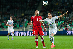 Andraz Kirm of Slovenia vs Gökhan Inler of Switzerland during qualification football match for World Cup 2014 in Brazil between national team of Slovenia and Switzerland, on September 7, 2012 in Ljubljana, Slovenia. (Photo by Matic Klansek Velej / Sportida.com)