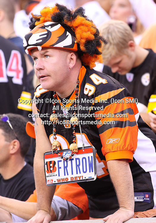 September 27 2009: Cincinnati Bengals fan cheering in the stands during the game against the Pittsburgh Steelers at Paul Brown Stadium in Cincinnati, OH.