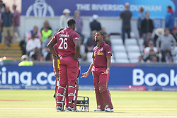 July 1, 2019 - Chester Le Street, County Durham, United Kingdom - Nicholas Pooran and Carlos Brathwaite of West Indies during the ICC Cricket World Cup 2019 match between Sri Lanka and West Indies at Emirates Riverside, Chester le Street on Monday 1st July 2019. (Credit Image: © Mi News/NurPhoto via ZUMA Press)