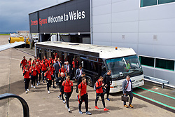 CARDIFF, WALES - Saturday, June 10, 2017: Wales players board the team plane as the squad depart Cardiff Tesla Airport to travel to Belgrade ahead of the 2018 FIFA World Cup Qualifying Group D match against Serbia. (Pic by David Rawcliffe/Propaganda)