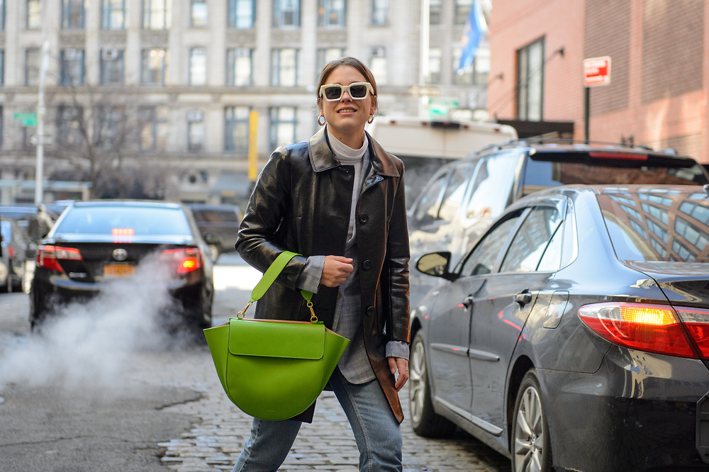 Green Bag and White Sunglasses, Outside Rosie Assoulin FW2018