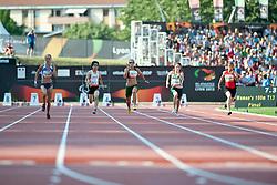GLIEBOVA Olena, HAYES Ilse, BENHAMA Sanaa, CASAREZ Thiare, SATO Tomomi, UKR, RSA, MAR, MEX, JPN, 100m, T13, 2013 IPC Athletics World Championships, Lyon, France