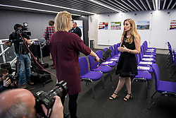 © Licensed to London News Pictures. 19/02/2018. London, UK. SANDRA KHADHOURI, (head of communications),  speaking to media at the launch event for Renew, a new anti-Brexit political party, at the Queen Elizabeth II Conference Centre in London. The Renew party, which is taking advice from representatives of Emmanuel Macron's En Marche, has recruited some 220 candidates to stand in local and national elections. Photo credit: Ben Cawthra/LNP