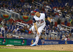 March 12, 2017 - Miami, FL, USA - United States pitcher Nate Jones during the ninth inning of a World Baseball Classic first round Pool C game against Canada on Sunday, March 12, 2017 at Marlins Park in Miami, Fla. (Credit Image: © David Santiago/TNS via ZUMA Wire)