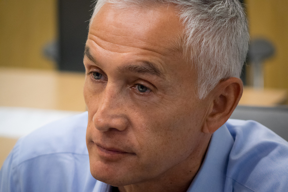 OCTOBER 14, 2015---DORAL---FLORIDA<br /> Jorge Ramos, news anchor for Univision, in the network's Doral, Florida newsroom. Ramos, an influential Hispanic reporter, had an tense confrontation with Republican Presidential hopeful Donald Trump in a press conference in Iowa in August.<br /> Photo by Angel Valentin/Freelance)