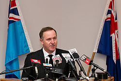 Prime Minister John Key speaking at a media conference following the death of two Kiwi Soldiers and several casualties from the Provincial Reconstruction Team in an incident north-east of Bamiyan Province, Afghanistan, Whenuapai Airbase, Auckland, New Zealand, Sunday, August 05, 2012.  Credit:SNPA / David Rowland