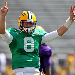 April 9, 2011; Baton Rouge, LA, USA; LSU Tigers quarterback Zach Mettenberger (8) during the 2011 Spring Game at Tiger Stadium.   Mandatory Credit: Derick E. Hingle