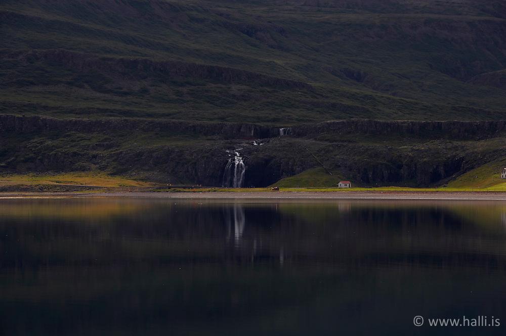 Foss in Fossdalur, Fossfjordur in west fjords of Iceland - Foss í Fossfirði á Vestfjörðum