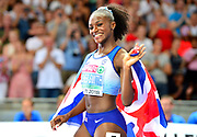 Dina Asher-Smith (GBR) poses with British flag after winning the women's 100m in 10.85 in the European Championships in Berlin, Germany, Tuesday August 7, 2018. (Jiro Mochizuki/Image of Sport)