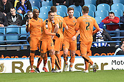 wolves celebrate goal from penalty by Wolverhampton Wanderers striker Benik Afobe  to go 1-0 up  during the Sky Bet Championship match between Sheffield Wednesday and Wolverhampton Wanderers at Hillsborough, Sheffield, England on 20 December 2015. Photo by Ian Lyall.
