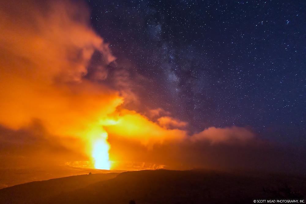 Glowing lava steam cloud from Halemaumau crater, Volcano National Park, Jaggaer Museum, Kilauea, Big Island, Hawaii