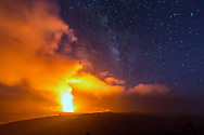 Glowing lava steam cloud from Halemaumau crater, Volcano National Park, Jaggaer Museum, Kilauea, Big Island, Hawaii