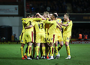 Burnley midfielder Joey Barton celebrating scoring second goal from free kick during the Sky Bet Championship match between Brentford and Burnley at Griffin Park, London, England on 15 January 2016. Photo by Matthew Redman.
