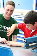 Ludwigshafen. 20.05.17 | BASF Tag der Ausbildung<br /> BASF Info Tag Ausbildung. Ausbildungsplätze können hier begutachtet werden.<br /> - Marc Schulz mit Max Zuber. Dahinter Mutter Sandra Zuber<br /> <br /> BILD- ID 0040 |<br /> Bild: Markus Prosswitz 20MAY17 / masterpress (Bild ist honorarpflichtig - No Model Release!)