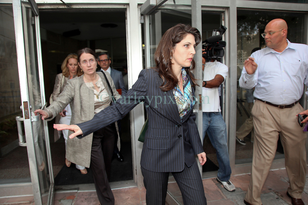 01 June  2015. New Orleans, Louisiana. <br /> Rita Benson LeBlanc (center) and her mother Renee (behind her) attended a hearing to determine the competency of grandfather/father Tom Benson. Benson is the billionaire owner of the NFL New Orleans Saints, the NBA New Orleans Pelicans, various Mercedes dealerships, banks, property assets and a slew of business interests. Rita, her brother and mother demanded a competency hearing after Benson changed his succession plans and decided to leave the bulk of his estate to third wife Gayle, sparking a controversial fight over control of the Benson business empire.<br /> Photo&copy;; Charlie Varley/varleypix.com