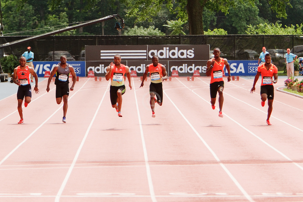 Samsung Diamond League adidas Grand Prix track & field; Mens 100 meters, B race, Tyson Gay, winner