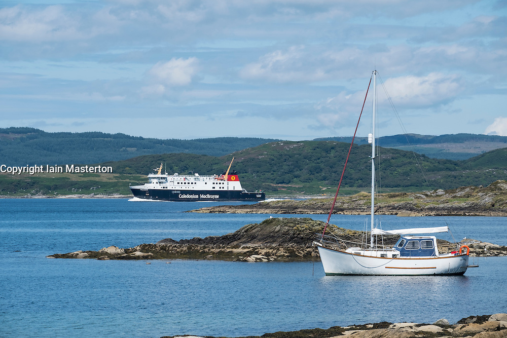 View of Caledonian MacBrayne car ferry on route from Kennacraig to Island of Islay off kintyre peninsula in Argyll and Bute in Scotland, United Kingdom