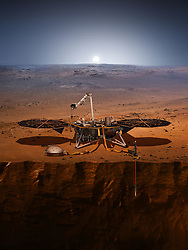 April 27, 2018 - U.S. - Illustration of NASA's Interior Exploration using Seismic Investigations, Geodesy and Heat Transport (InSight). (Credit Image: © Ben Smegelsky/NASA via ZUMA Wire/ZUMAPRESS.com)
