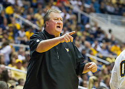 Nov 20, 2016; Morgantown, WV, USA; West Virginia Mountaineers head coach Bob Huggins calls out a play during the second half against the New Hampshire Wildcats at WVU Coliseum. Mandatory Credit: Ben Queen-USA TODAY Sports