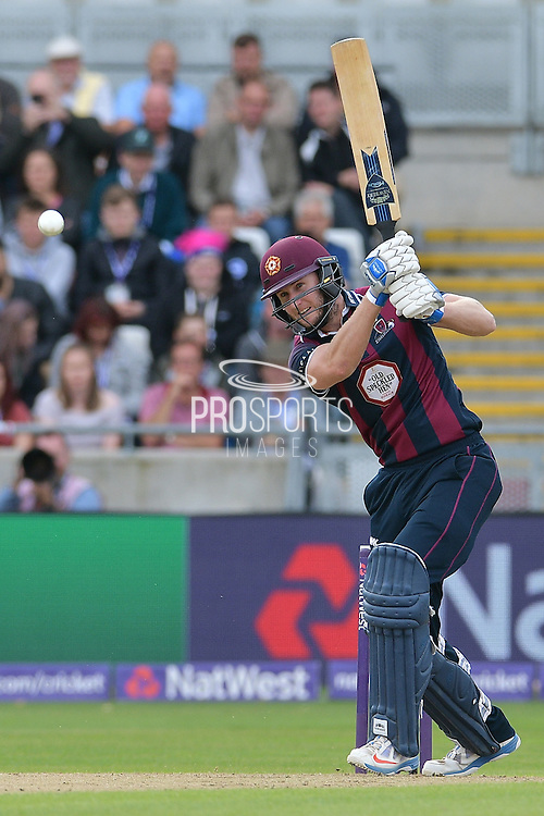 Alex Wakely straight drives Stuart Broad (not shown) during the NatWest T20 Finals Day 2016 match between Nottinghamshire County Cricket Club and Northamptonshire County Cricket Club at Edgbaston, Birmingham, United Kingdom on 20 August 2016. Photo by Simon Trafford.