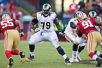11 November 2012: Tackle (79) Barry Richardson of the St. Louis Rams in game action against the San Francisco 49ers during the second half of a 24-24 tie between the 49ers and the Rams in an NFL football game at Candlestick Park in San Francisco, CA.