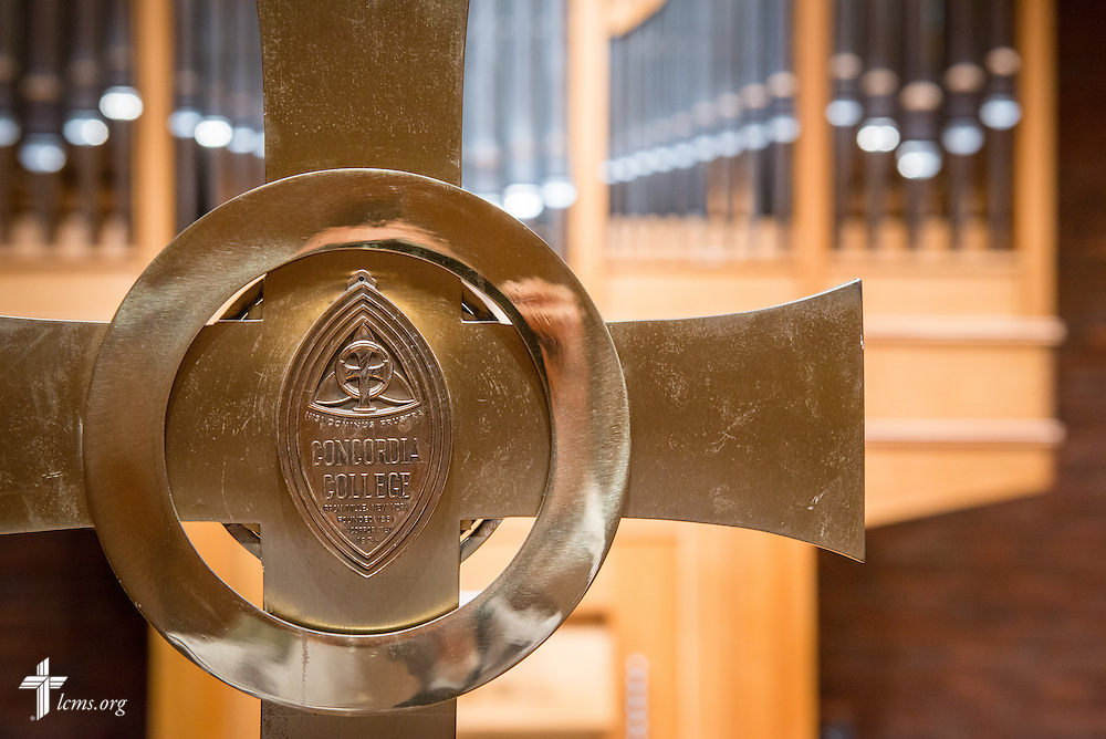 A cross is seen in front of the organ in the chapel of the Sommer Center for Worship and Performing Arts at Concordia College New York on Saturday, July 19, 2014, in Bronxville, NY. LCMS Communications/Erik M. Lunsford