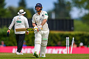 Wicket Paul Stirling of Middlesex heads to the pavilion after being bowled by Markus Labuschagne of Glamorgan during the Specsavers County Champ Div 2 match between Middlesex County Cricket Club and Glamorgan County Cricket Club at Radlett Cricket Ground, Radlett, Herfordshire,United Kingdom on 17 June 2019.