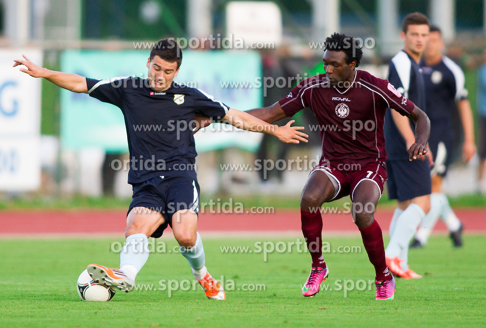 Mehmed Alispahic of Rijeka vs Dinnyuy Kongyuy of Triglav during Friendly football match between NK Triglav and HNK Rijeka on June 25, 2013 in Sports park Kranj, Slovenia. (Photo by Vid Ponikvar / Sportida.com)