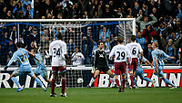 Photo: Steve Bond.<br />Coventry City v West Ham United. Carling Cup. 30/10/2007. Jay Tabb (secon left) wheels away after heading Coventry in front
