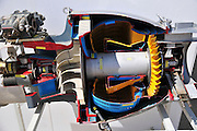 Israel, Hazirim, near Beer Sheva, Israeli Air Force museum. The national centre for Israel's aviation heritage. Cross section of a jet engine