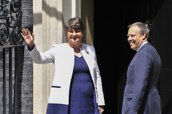June 13, 2017 - London, UK - London, UK.  Democratic Unionist Party leader Arlene Foster arrives at Downing Street to hold discussions with Prime Minister Theresa May to strike a deal to allow the Conservatives government following the General Election which resulted in a hung Parliament. (Credit Image: © Stephen Chung/London News Pictures via ZUMA Wire)