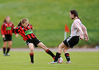 13 Aug 2016: Niamh Carr, right, Donegal, in action against Eabha O'Riordan, Galway.  U15 Girls Soccer Semi-final, Galway v Donegal.  2016 Community Games National Festival 2016.  Athlone Institute of Technology, Athlone, Co. Westmeath. Picture: Caroline Quinn