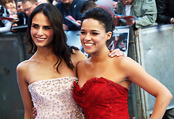 Jordana Brewster and Michelle Rodriguez at the premiere of Fast&Furious 6 in London, Tuesday 7th May 2013.  Photo by: Max Nash / i-Images